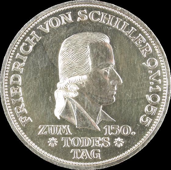 5 Dm Silbermünze Friedrich Von Schiller Brd