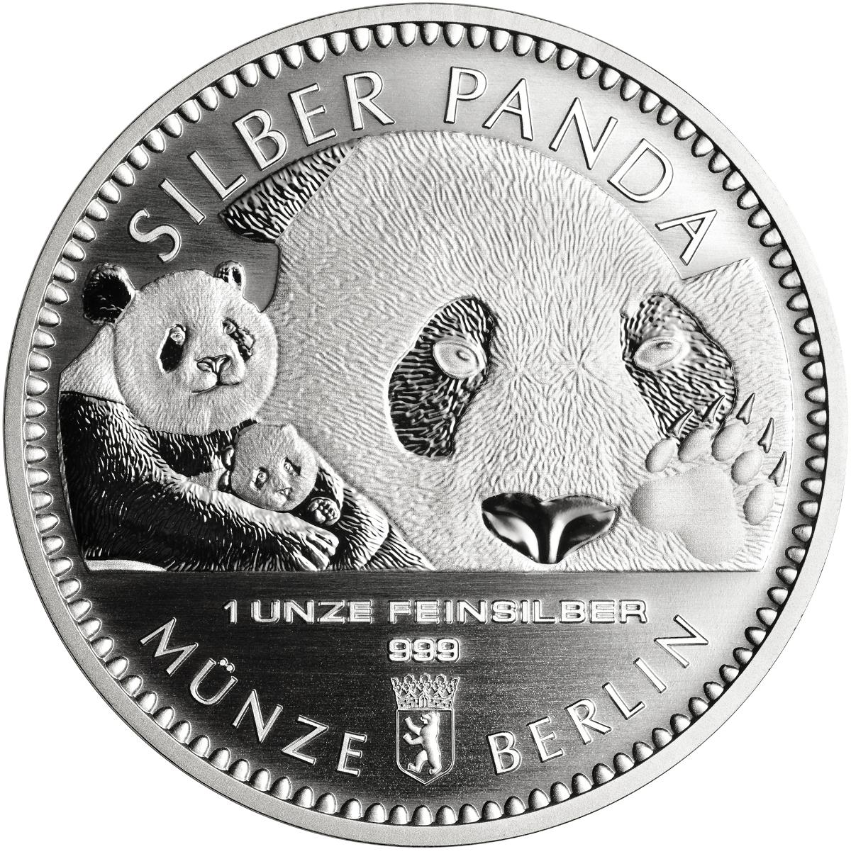 1 Unze Silber Panda 2018 Münze Berlin Round