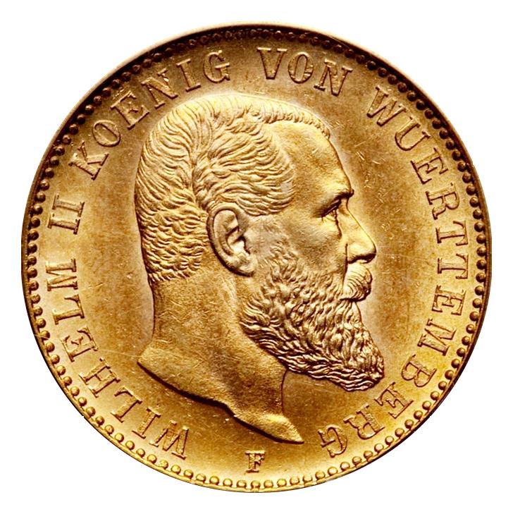 20 Mark Goldmünze Wilhelm Ii König Von Württemberg